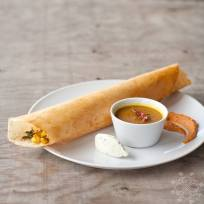 Dosa and Sambar with House-Made Coconut and Tomato and Lentil Chutney